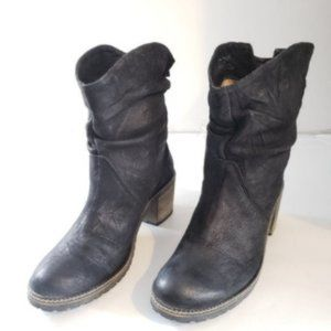 Bos&Co Leather Ankle Black Boots Size 38.